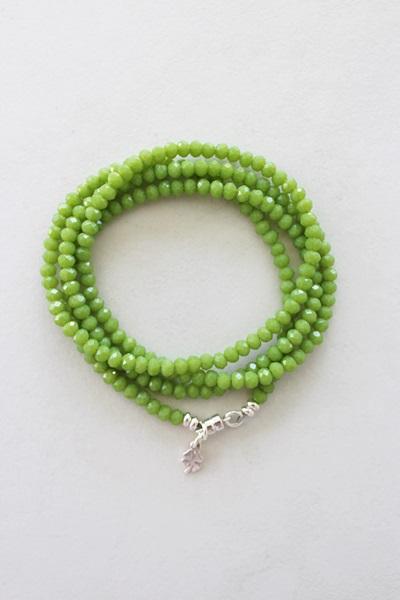 Green Czech Glass Quad Wrap Bracelet with Shamrock Charm - The Ireland Bracelet