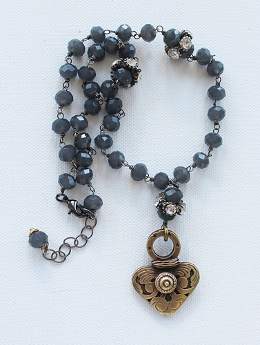 Vintage Gray Glass Brass Heart Pendant Necklace