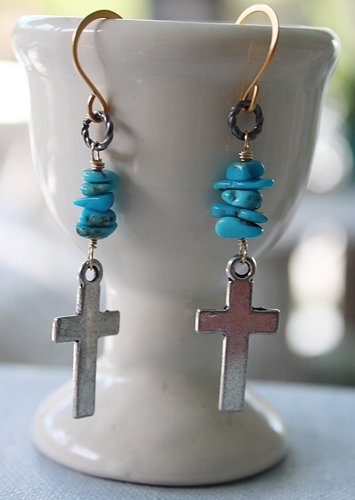 Silver Cross and Turquoise Earrings - The Esther Earrings