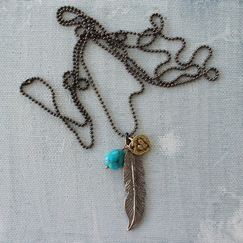 Feather Pendant and Turquoise Necklace - The Feather Necklace