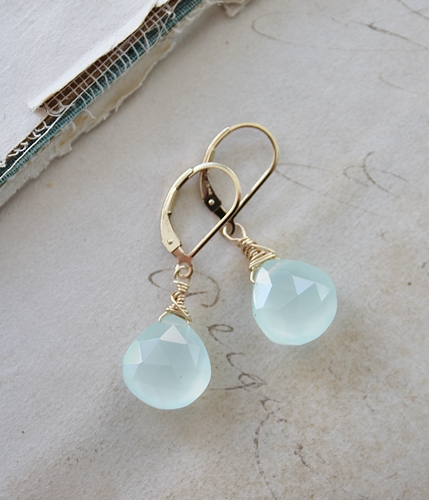 Simple Drop Earrings - Choose from Labradorite, Lace Agate, Sea Blue Chalcedony - The Lara Earrings