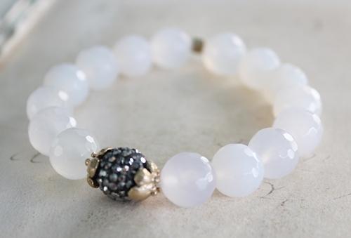 Snow Quartz or Smooth Lapis Stretch Bracelet - The Callie Bracelet