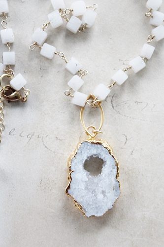 Snow Quartz Cubes and White Solar Quartz Pendant - The Blanca Necklace