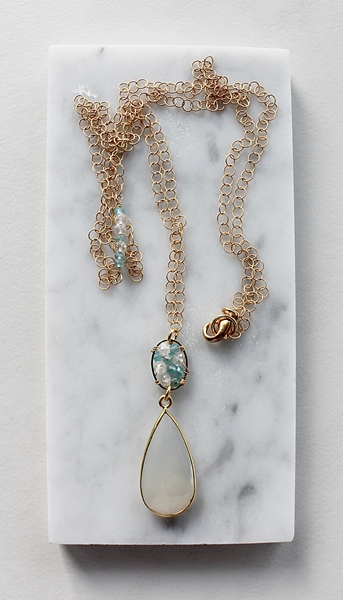 Snow Quartz and Mixed Gem Necklace - The Marin Necklace