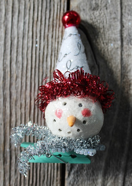 Snowman on a Clip - Tree Ornament/Package Topper