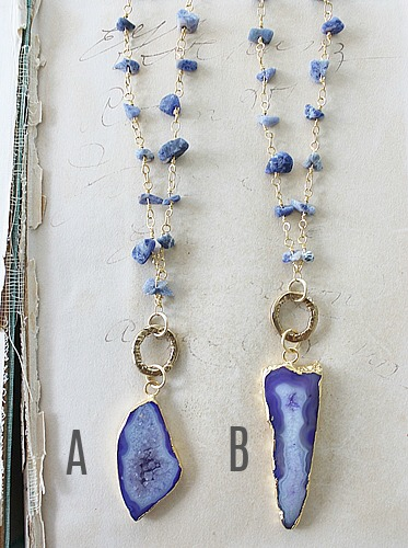 Sodalite Chain and Agate Slice Necklace - The Andrea Necklace