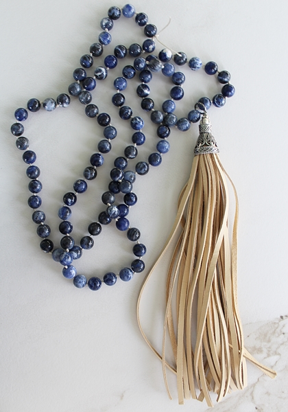 Sodalite Knotted Necklace with Leather Tassel - The Jamie Necklace