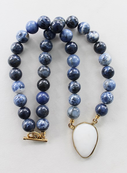 Sodalite and Agate Pendant Necklace - The Amy Necklace