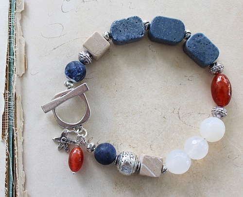 Snow Quartz Lapis and Vintage Glass Bracelet - The Desert Rose Bracelet