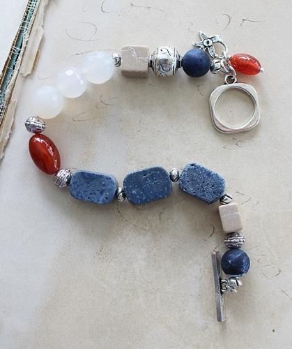 Snow Quartz Lapis and Vintage Glass Bracelet - The Desert Rose Bracelet