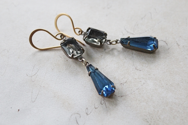 Gray and Montana Blue Vintage Drop Earrings