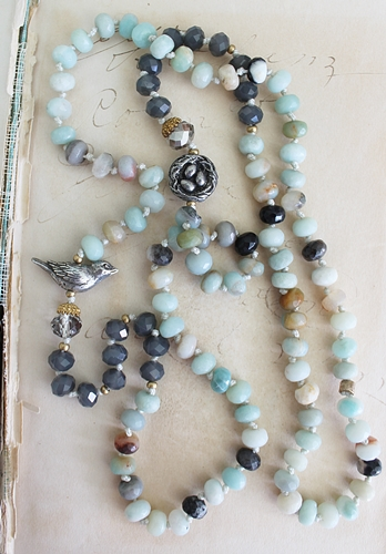 Natural Amazonite, Glass and Sterling Silver Necklace -  The Sparrow Necklace
