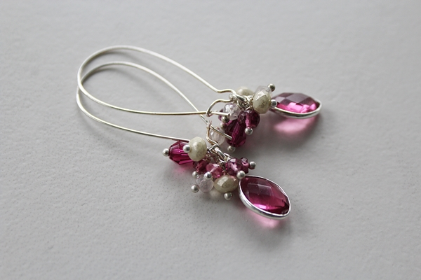 Pink Tourmaline, Fuschia Quartz and Mixed Gem Earrings - The Francesca Earrings