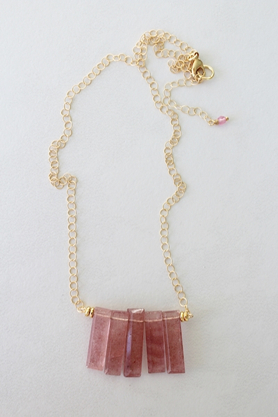 Strawberry Quartz Bib Necklace - The Jayne Necklace