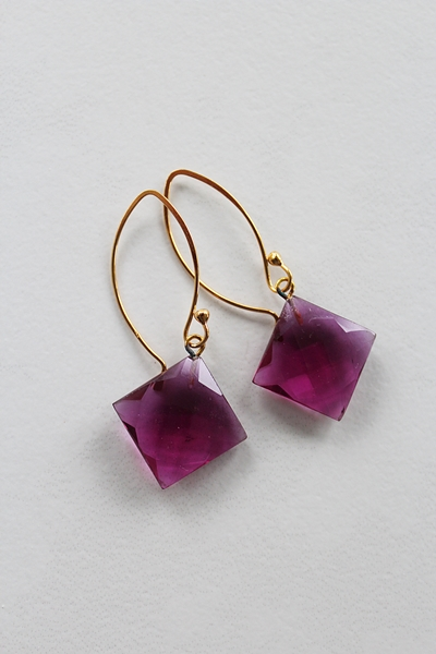 Fuschia Quartz Diamond Shaped Earrings - The Corinne Earrings