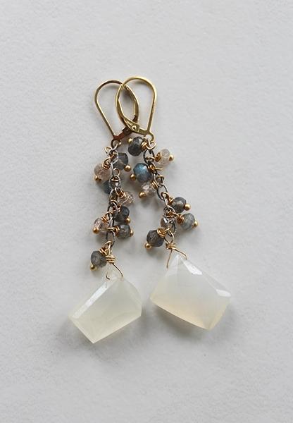 Silverite and Labradorite Earrings - The Zoe Earrings