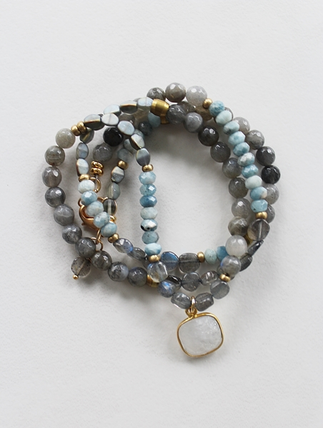 Labradorite, Aquamarine, and Mixed Glass Bracelet/Necklace - The Bekka Bracelet/Necklace
