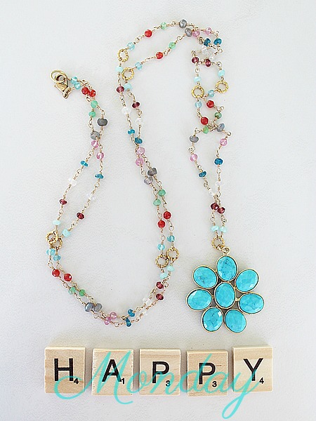 Mixed Gem and Turquoise Daisy Flower Necklace - The Daisy Necklace