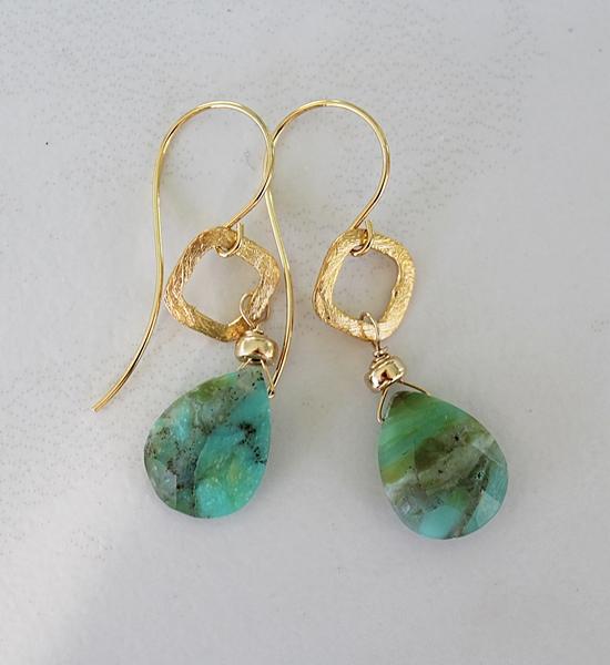 Peruvian Opal Teardrop Earrings - The Kyle Earrings