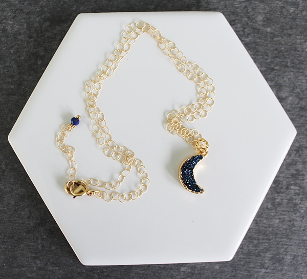 Blue Druzy Moon Necklace - The Lunar Necklace