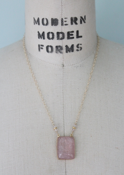 Rose Quartz Pendant and 14kt Gold Necklace - The Kiersten Necklace
