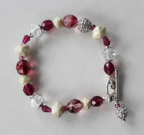 Fuschia Quartz and Mixed Glass Bracelet - The Francesca Bracelet