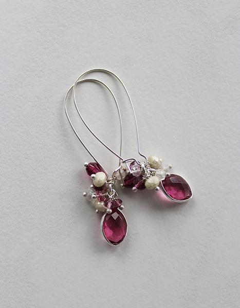 Pink Tourmaline, Fuschia Quartz and Mixed Gem Earrings - The Francesca Earrings