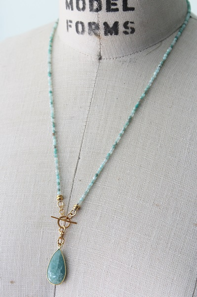 Aquamarine Lariat Necklace - The Lark Necklace