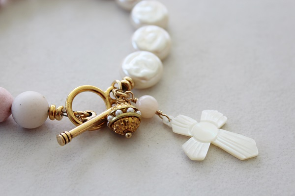 Pink Opal and Vintage Glass Pearl with MOP Carved Cross - The Faith Bracelet