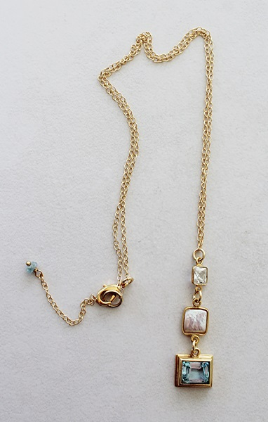 London Blue Topaz, Fresh Water Pearl and Clear Quartz Necklace - The Rimini Necklace
