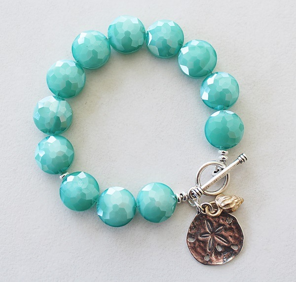 Czech Glass and Beach Charm Bracelet - The Azul Bracelet