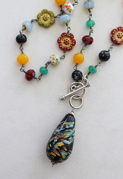 Vintage Glass Pendant and Assorted Glass Necklace - The Dixie Necklace