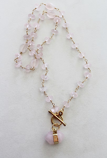 Rose Quartz Barrel Pendant Lariat Necklace - The Rose Necklace