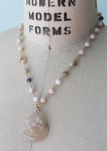 Pink Opal and Cherry Quartz Necklace - The Paola Necklace