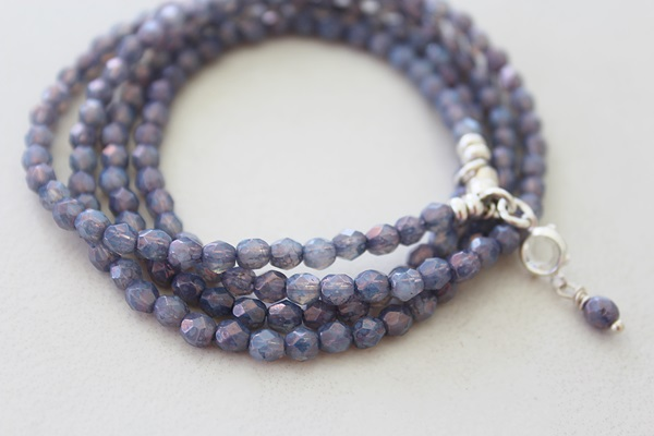 Smoky Amethyst Czech Glass Quad Bracelet/Necklace - The Nicole Bracelet/Necklace