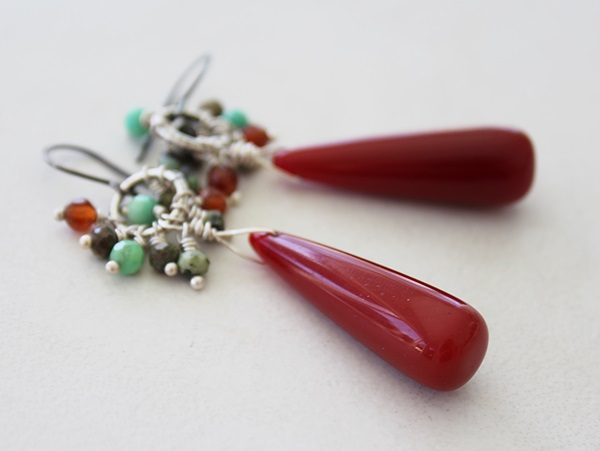 Carnelian and African Turquoise Earrings - The Taos Earrings