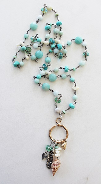 Mixed Gem and Shell Cluster Necklace - The Mariana Necklace