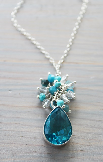Blue Topaz and Sterling Pendant Cluster Necklace - The Emory Necklace