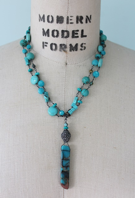 Mixed Gem and Turquoise Necklace - The Palm Desert Necklace
