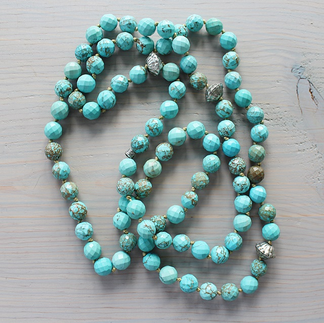 Long Turquoise Knotted Necklace - The Lagoon Necklace
