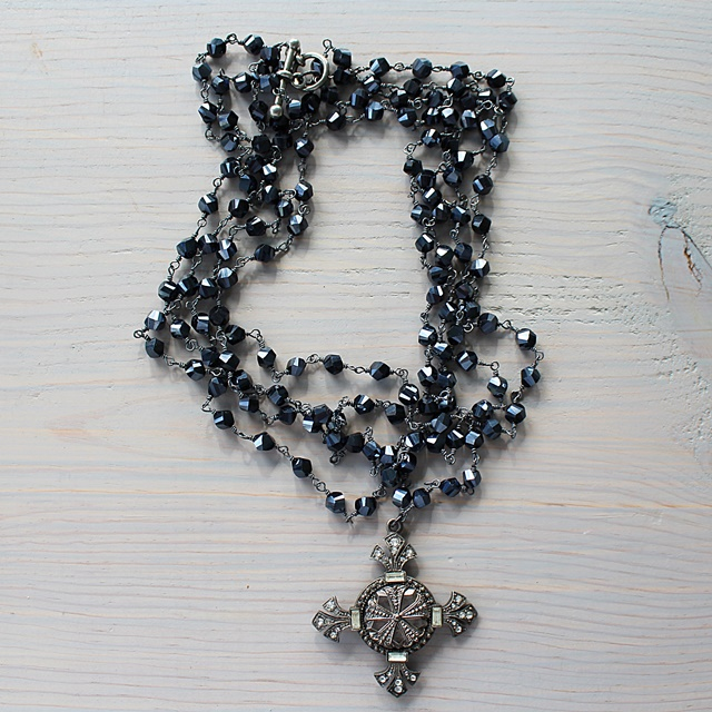 Layer Glass Necklace with Unique Cross Pendant - The Cecilia Necklace