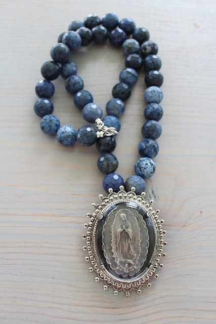 Sodalite and Virgin Mary Pendant - The Guadalupe Necklace