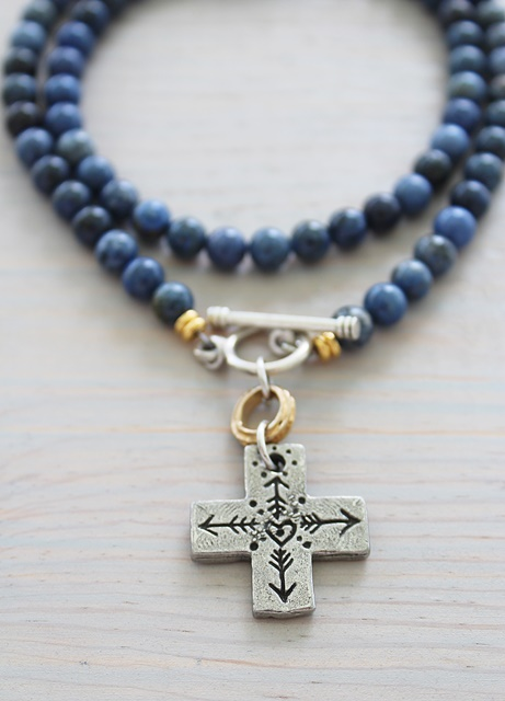 True North Cross on Sodalite Beaded Necklace - True North Necklace