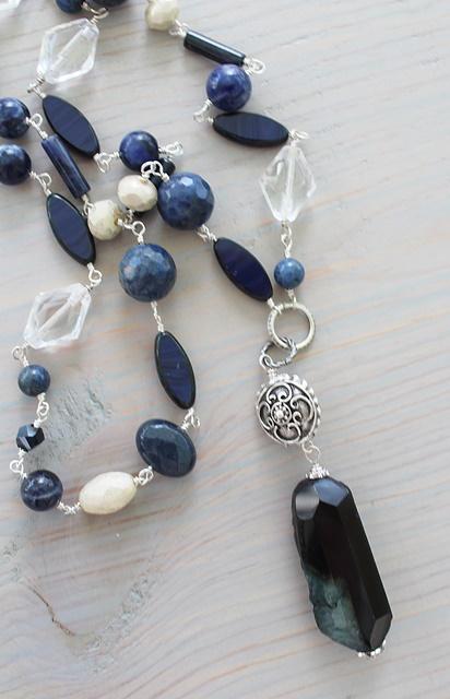 Dumortierite Pendant and Mixed Gem Pendant Necklace - The Cordelia Necklace
