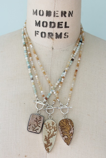 Dendritic Agate Pendant Necklaces - The Adrian Necklace