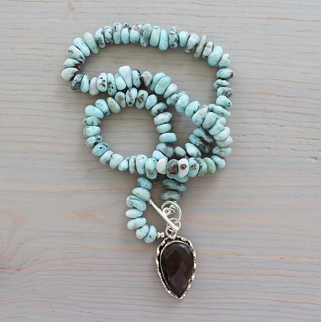 Larimar and Smokey Quartz Necklace - The Rhonda Necklace