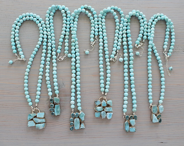 DOORBUSTER - Larimar and Blue Topaz Pendant Necklace - The Brynna Necklace