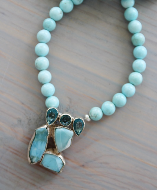 Larimar and Blue Topaz Pendant Necklace - The Brynna Necklace