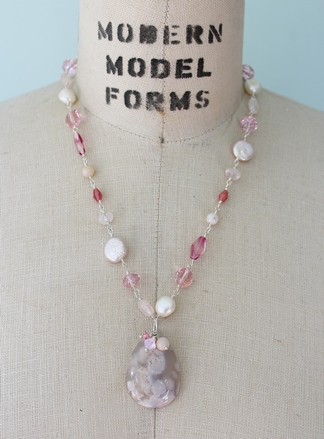 Pink Opal and Mixed Gem and Glass Necklace - The Petula Necklace