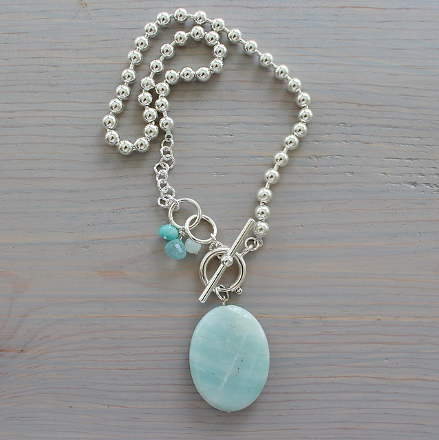 Amazonite Pendant on Sterling Silver Clad Ball Chain - The Amali Necklace